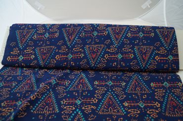 """Handbedruckter Indischer Baumwollstoff """"Pyramide"""" royalblue turquoise/gold Col C – Bild 2"""