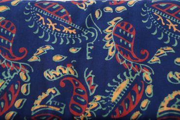 """Handbedruckter Indischer Baumwollstoff """"Dragon Flower"""" royalblue/tomato/gold Col G"""