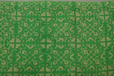 "Handbedruckter indischer Mulmal Handbedruckter indischer Mulmal ""Ornamentic"" yellow printed green – Bild 1"