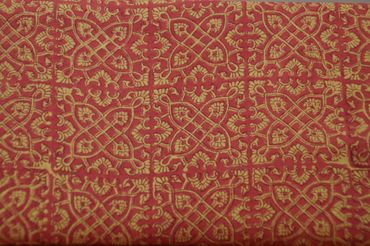 "Handbedruckter indischer Mulmal ""Ornamentic"" creme printed red mauve"