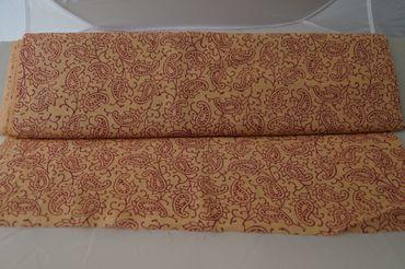 "Handbedruckter indischer Mulmal ""Little Paisly"" creme printed red mauve – Bild 2"