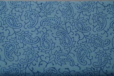 """Handbedruckter indischer Mulmal """"Little Paisly"""" light blue printed middle blue – Bild 1"""