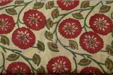 "Handbedruckter indischer Mulmal ""Red Flower"" yellow printed red mauve/green – Bild 1"