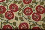 "Handbedruckter indischer Mulmal ""Red Flower"" yellow printed red mauve/green 001"