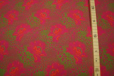 """Original Shweshwe Baumwollstoff  """"Rose """" pink/green/mallow in 90cm Breite – Bild 1"""