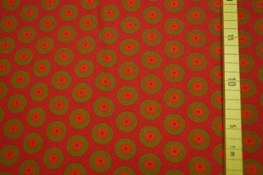 "Original Shweshwe Baumwollstoff  ""Circles"" pink/green/mallow in 90cm Breite – Bild 2"
