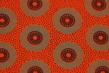 "Original Shweshwe Baumwollstoff ""Circles"" tomatenrot mit grün/ schwarz in 90cm Breite"