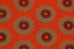 "Original Shweshwe Baumwollstoff ""Circles"" tomatenrot mit grün/ schwarz in 90cm Breite 001"