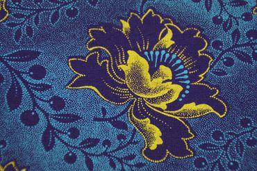 """Original Shweshwe """" Rose"""" lila/hellblau/gelb in 90cm Breite"""