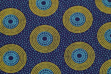 """Original Shweshwe """" Circles"""" lila/hellblau/gelb in 90cm Breite"""