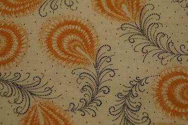 """Original Shweshwe Baumwollstoff """"Feathers"""" creme mit orange/ schwarz in 90cm Breite"""