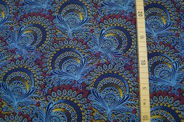 "Original Shweshwe Baumwollstoff ""Plenty Flowers"" dunkel/jeans/hellblau,sonnengelb/rot  in 90cm Breite"