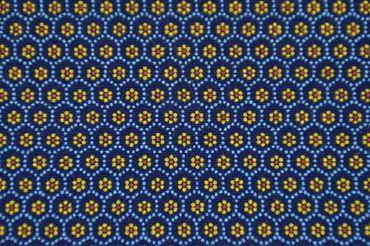 "Original Shweshwe Baumwollstoff ""Flower Stamps"" dunkel/jeans/hellblau,sonnengelb/rot  in 90cm Breite"
