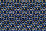 "Original Shweshwe Baumwollstoff ""Flower Stamps"" dunkel/jeans/hellblau,sonnengelb/rot  in 90cm Breite 001"