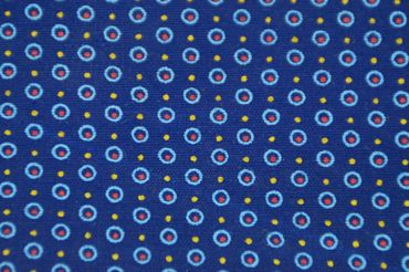 "Original Shweshwe Baumwollstoff ""Points"" dunkel/jeans/hellblau,sonnengelb/rot  in 90cm Breite"