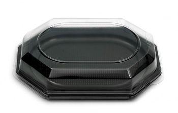 10 Catering- Trays schwarz inklusive DECKEL, 350 x 250 x 80 mm, 1165+1171