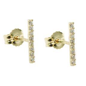 Ohrstecker 9x1mm Ohrringe, Stäbchen mit je 8 weißen Zirkonias 375 Gold Gelbgold
