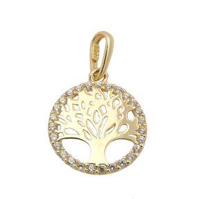 Anhänger 11mm Lebensbaum rund glänzend mit weißen Zirkonia 375 Gold Gelbgold