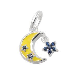 Anhänger für Kinder gelbes Mond mit Sternchen aus blauen Zirkonia 925 Silber