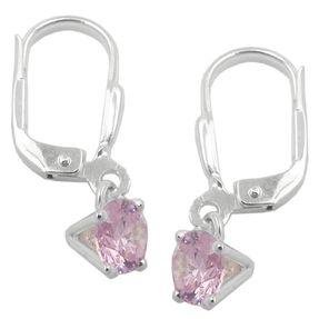 Brisur 21x6mm Ohrringe mit 6mm rosa Zirkonia rund, 925 Silber Ohrschmuck