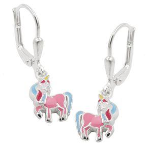Brisur 26x8mm Ohrringe für Kinder Einhorn mit farbigen Lackeinlagen 925 Silber
