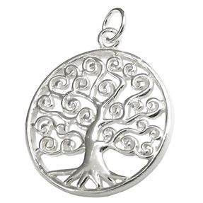Anhänger Lebensbaum rund glänzend Zweige spiralförmig 925 Silber Halsschmuck