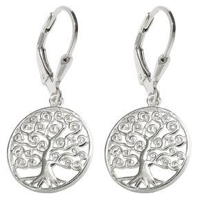 Brisur 31x14mm Ohrringe rund glänzend Zweige spiralförmig 925 Silber Ohrschmuck