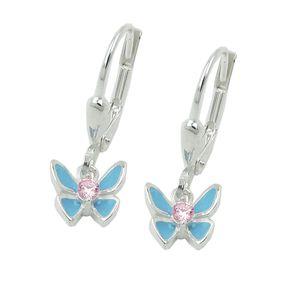 Brisur 20x7mm Kinderohrringe Schmetterling hellblau mit pink Zirkonia 925 Silber