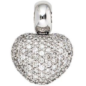 Goldanhänger Herz 107 Diamanten-Brillanten 585 Gold Halsschmuck für Damen