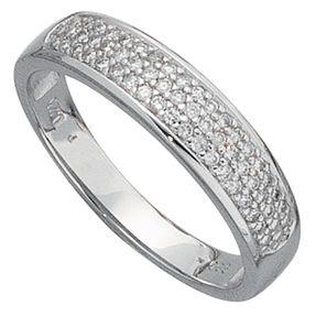 Goldring mit Diamanten, 50 Brillanten, 585 Weißgold