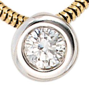 Solitär Collier mit Anhänger mit Diamant Brillant 0,25 Ct 585 Gold gelb/weiß