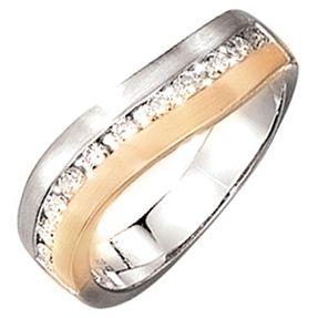 Ring mit 11 weißen Diamanten Weißgold Gelbgold mattiert