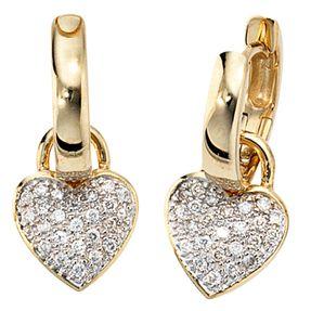 Ohrringe Ohrschmuck Creole Creolen Herz Herzen 48 Diamanten & 585 Gold
