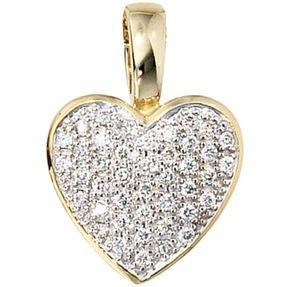 Halsschmuck Anhänger Herz aus 585 Gold mit 24 Diamanten