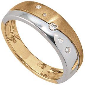 Ring für Damen mit Diamanten, 585 Weißgold & Gelbgold