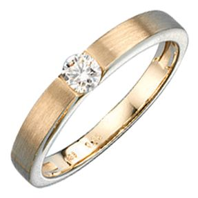 Ring Goldring für Damen mit Diamant, 585 Gold mattiert