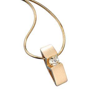 Damen Collier mit Diamant-Brillant, 585 Gold mattiert
