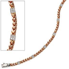 Armband mit 28 Diamanten, 585 Gold, Rotgold & Weißgold