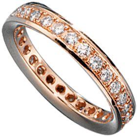 Memory-Ring, Memoryring mit Diamanten, 585 Rotgold