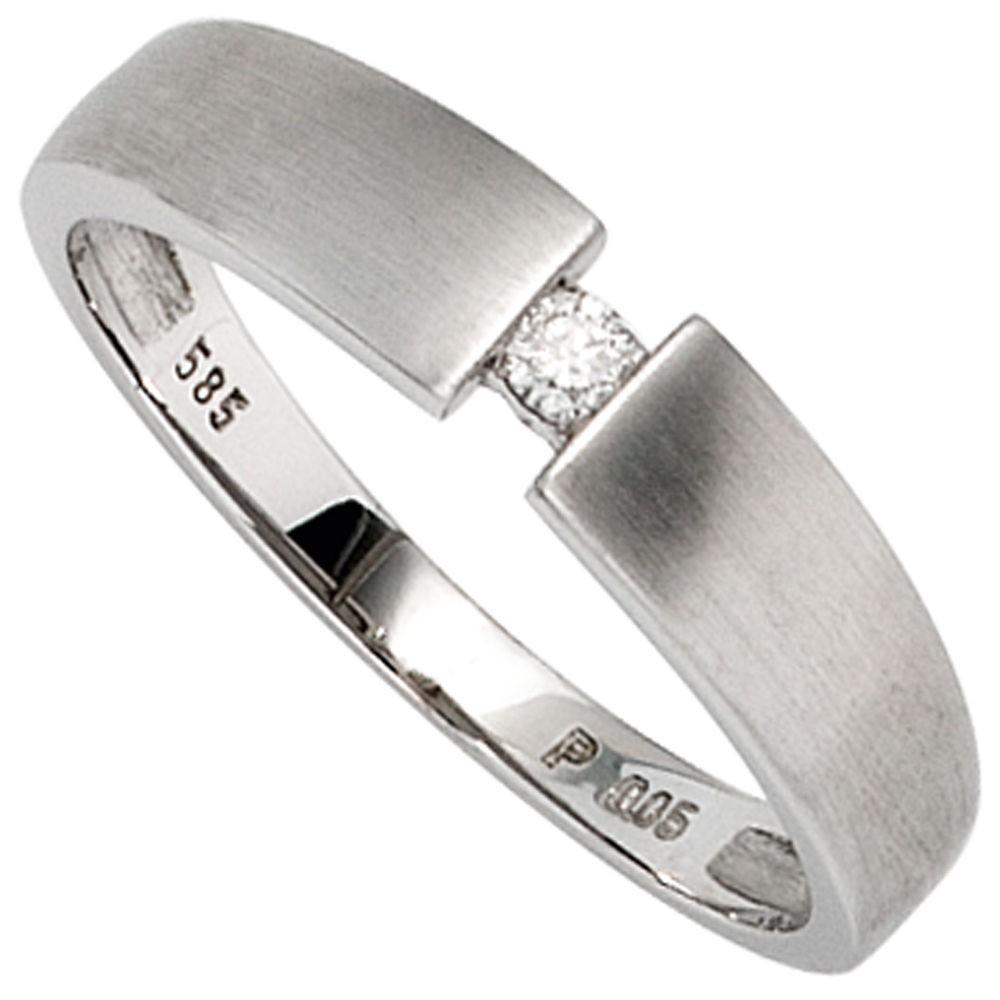 Weißgold matt  Goldring für Damen, Ring mit Diamant, 585 Gold Weißgold, mattiert