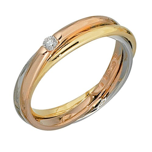 Goldring 585 Gelbgold Weißgold Ring Mit Diamant Rotgold OPn0k8wX