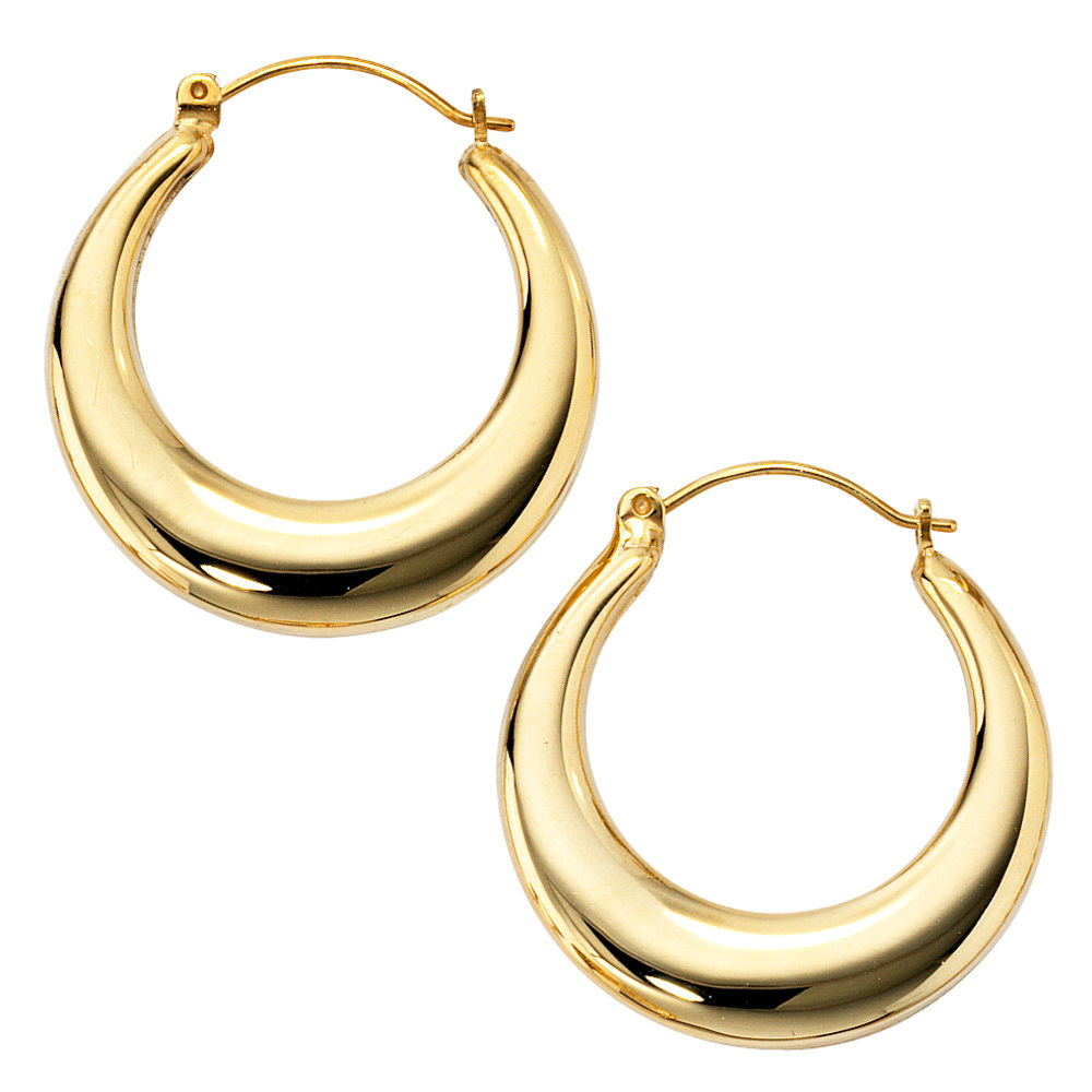 pair hoop earrings creole aus 585 gold yellow gold