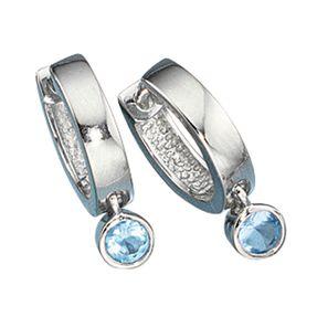Paar Creole Creolen, 2 x Zirkonia blau & 925 Silber