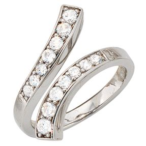 Ring Damenring mit 14 Zirkonia, 925 Silber rhodiniert