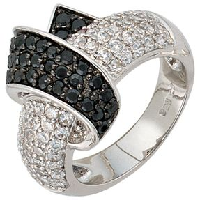 Ring mit Zirkonia schwarz weiß 925 Silber, Echtsilber Damenring Fingerring