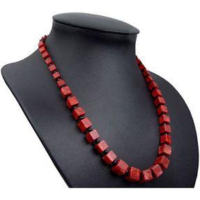 Halskette Collier im Verlauf aus Koralle Würfel Onyx 925 Silber rot-braun schwarz