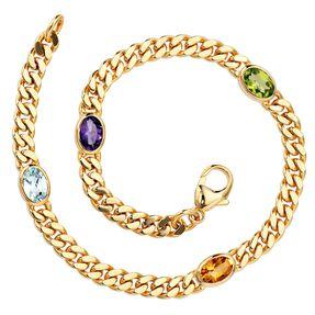Armband aus 585 Gold Gelbgold Edelsteine Aquamarin Citrin Amethyst Peridot 19cm