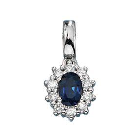 Anhänger Saphir Safir blau mit Diamanten Brillanten & 585 Weißgold