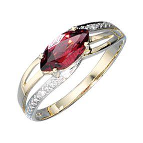 Ring, Damenring, Granat Diamant-Brillanten 585 Gelbgold