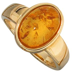 Ring, Damenring mit Bernstein & 585 Gelbgold, luxuriös